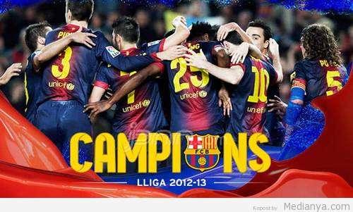 Selebrasi juara pemain Barca (sumber foto: medianya.com)