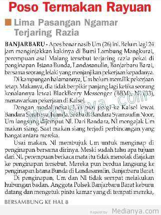 5 Pasangan Terjaring Razia Pekat Polsek Banjarbaru, Sabtu 11 Mei 2013