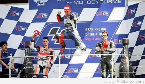 Hasil MotoGP Mugelo Italia 2013 Jorge Lorenzo Juara, Valentino Rossi dan Marc Marquez Jatuh