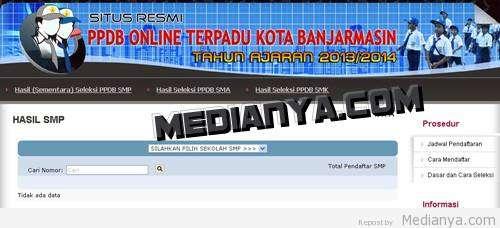 Info Hasil Seleksi Peneriman SMP Banjarmasin 2013 (PPDB Banjarmasin Online)