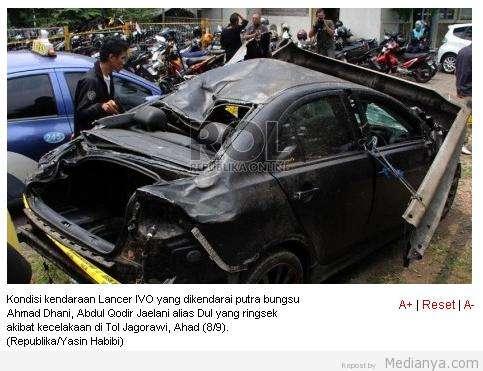 Foto Kecelakaan Mobil Dul Ahmad Dhani