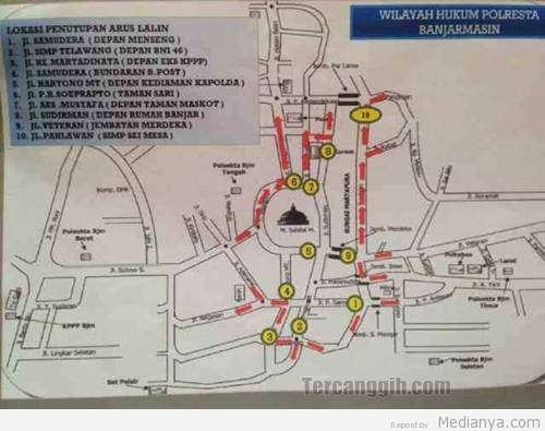 Rute Penutupan Jalan Malam Tahun Baru 2014 Banjarmasin