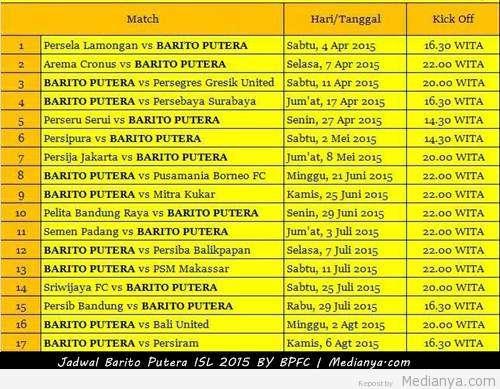 Jadwal Barito Putera ISL 2015 (QNB League) Lengkap