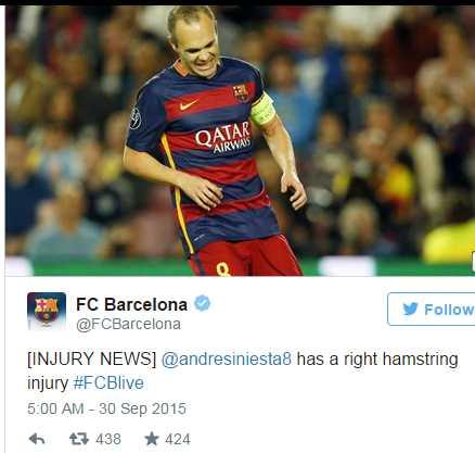 Iniesta Cidera Hamstring : Barcelcelona VS Bayer Leverkusen 2-1