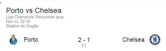Hasil Porto Vs Chelsea 2-1 Liga Champions 30 September 2015