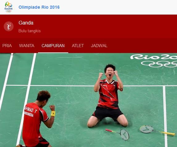 Tontowi-Liliyana Kalahkan Unggulan Nomor 1 Dunia Bulutangkis Olimpiade 2016